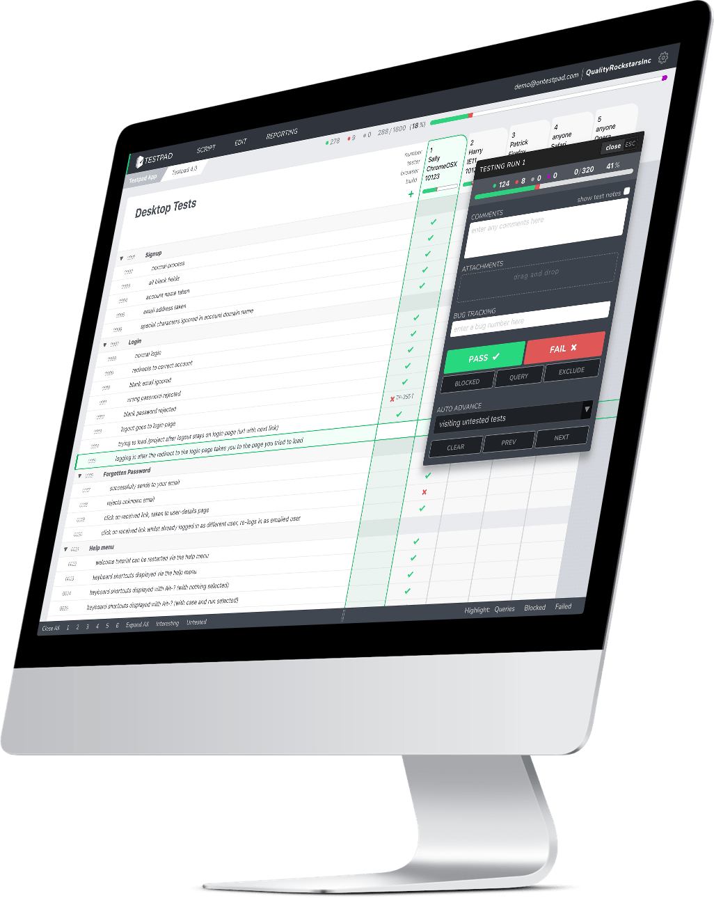 Testpad is a simple manual testing tool that reinvents traditional test management and test case management